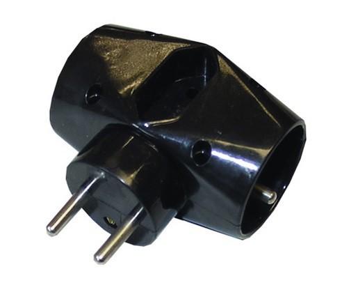 Zásuvky, rozdvojky  Solight rozbočka P92, 2,5A + 2x 10A, černá