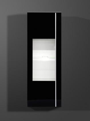Závesná skrinka Freestyle - Závesná vitrína, 1502-73 (biela/čierne sklo)