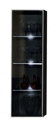 Závesná skrinka Game - Závesný prvok (čierna / sivé sklo PG)