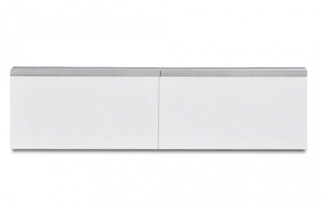 Závesná skrinka Linea - závesný prvok, 120 cm (biela/biela lak HG/strieborná)