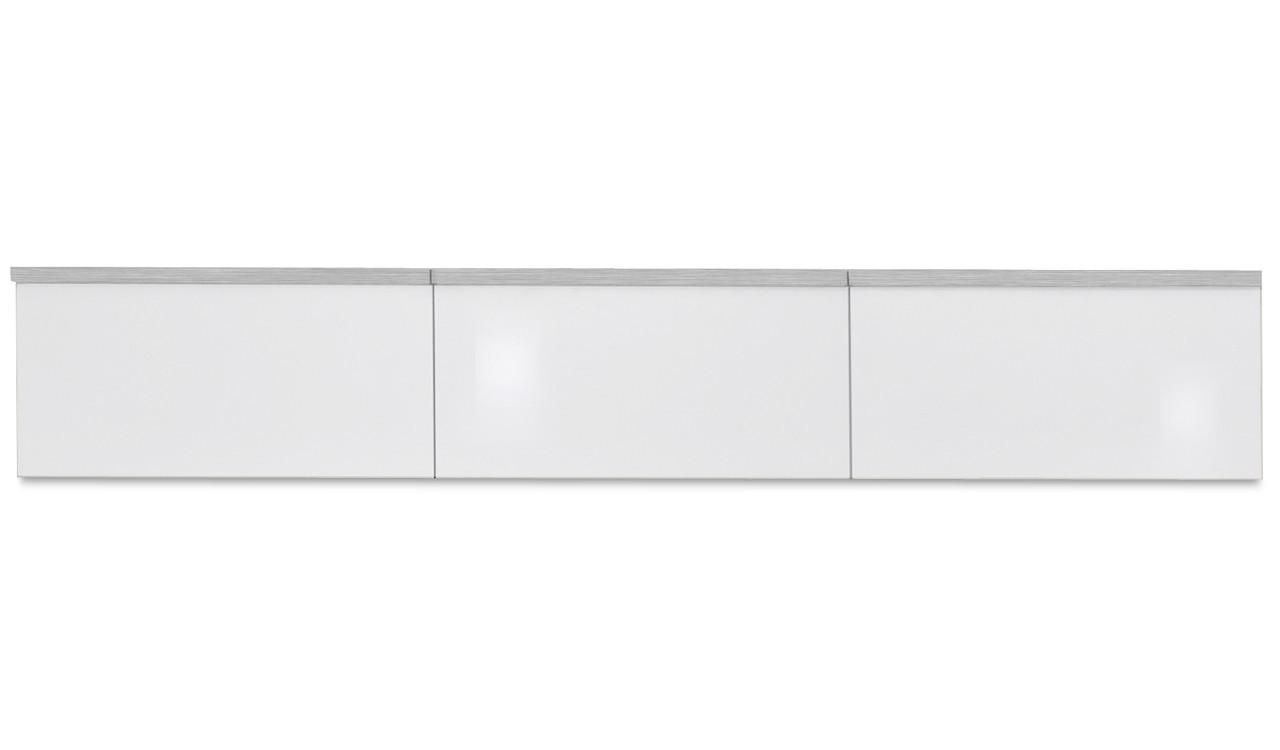 Závesná skrinka Linea - závesný prvok, 180 cm (biela/biela lak HG/strieborná)
