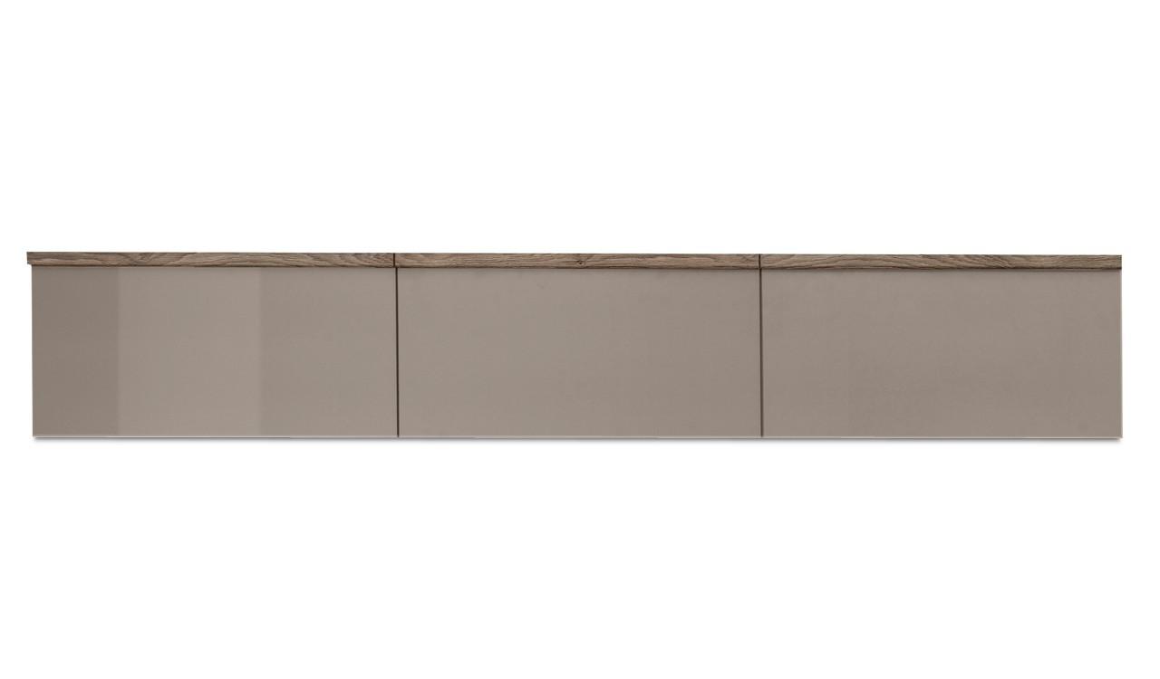 Závesná skrinka Linea - závesný prvok, 180 cm (dub tmavý/sivý kam.lak/dub tmavý)
