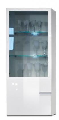 Závesná skrinka Linea - závesný prvok, 60 cm (biela/biela lak HG/strieborná)