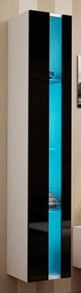 Závesná skrinka Vigo - Vitrína závesná 180,1xdvere bez skla(biela mat/čierna VL)