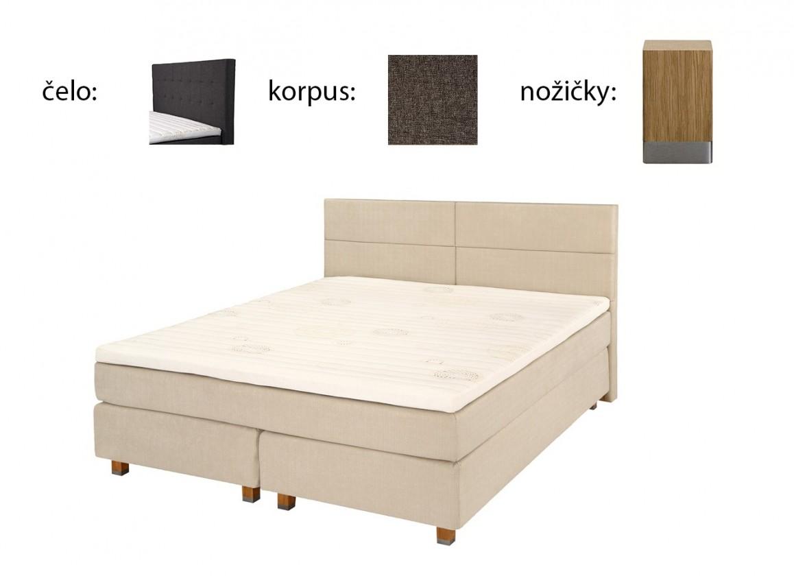 Zľavnené postele Boxbed (180x200, HB city 125x186 - anthracit, nohy select dub)