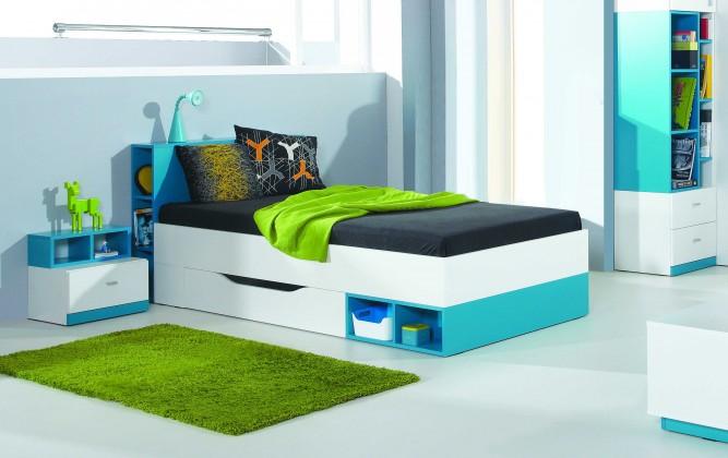 Zľavnené postele MOBI MO 18 (biela lesk/tyrkysová)