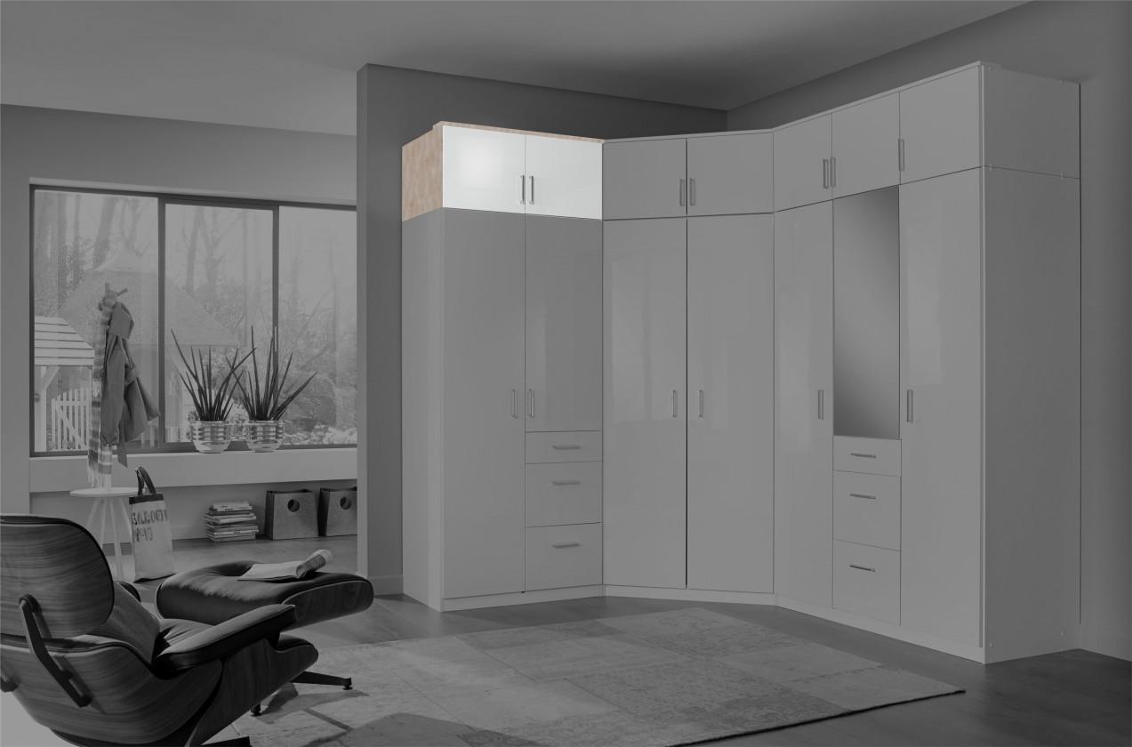 Zľavnené skrine Clack - Nadstavec na skriňu, 2x dvere (dub, biela) - II. akosť