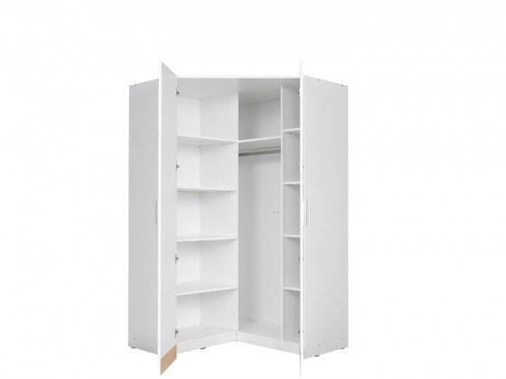 Zľavnené skrine Rohová skriňa Snow (biela/biela vysoký lesk)