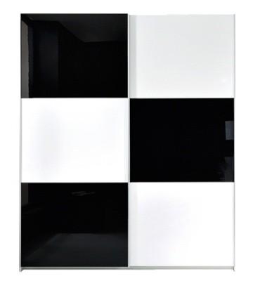 Zľavnené skrine Šatníková skriňa Colin SZF/183 - biela / čierna lesk - II. akosť