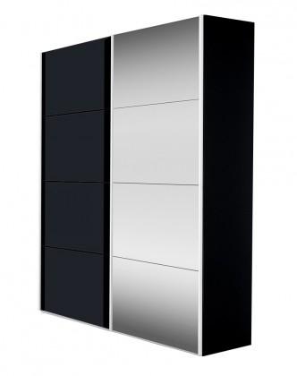 Zľavnené skrine Skriňa Flavour 7093151 (antracit/krištálové zrkadlo) - II. akosť