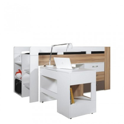 Zvýšená posteľ BLOG BL 19 (brest/biela lesk/cappucino)