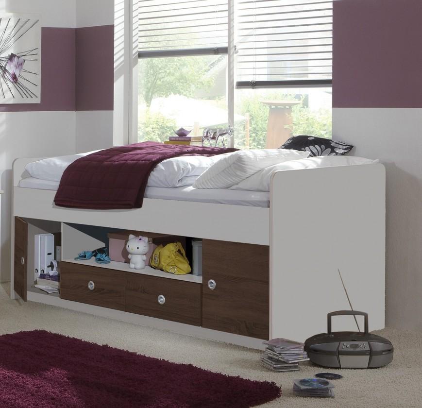 Zvýšená posteľ Jette - Posteľ s úložným priestorom (biela, kolumbijský orech)