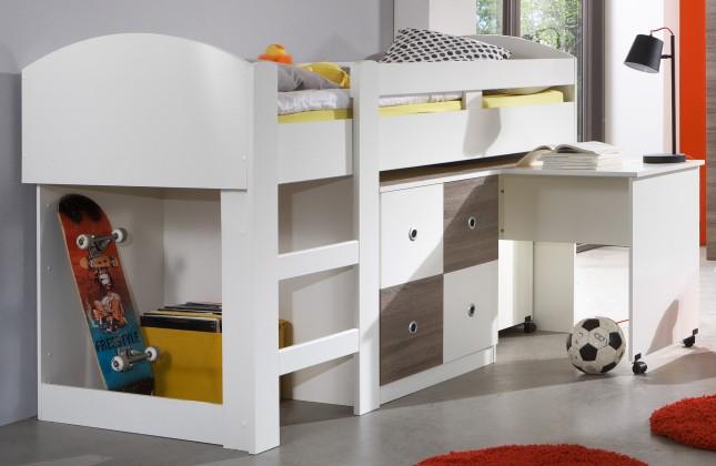 Zvýšená posteľ Kira-324238(alpská biela / dub montana)