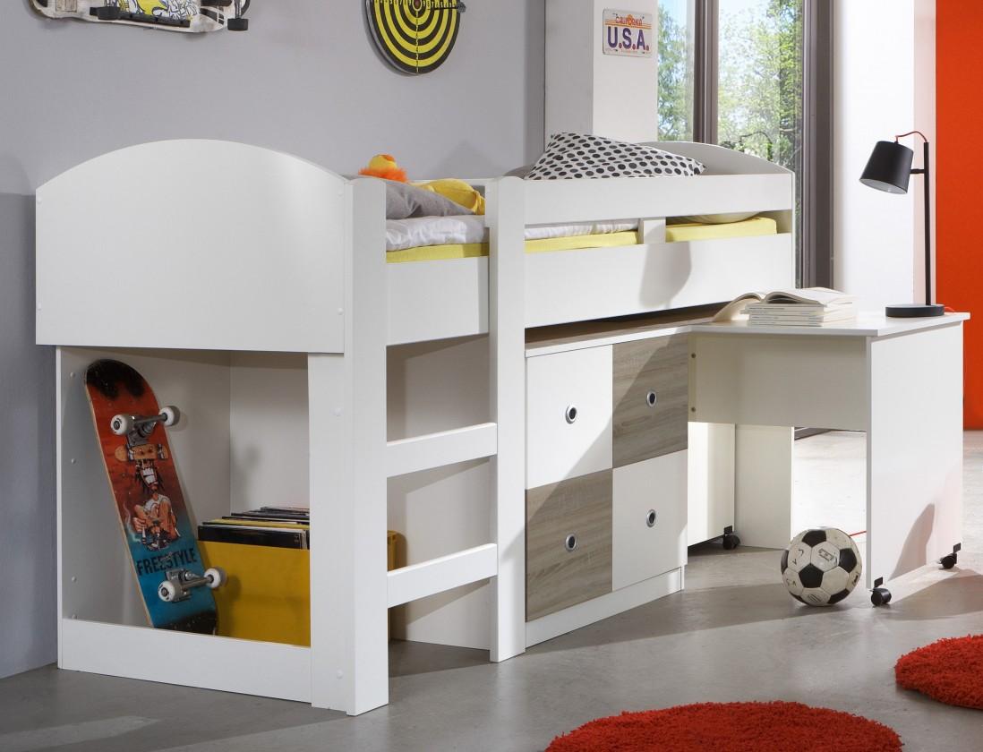 Zvýšená posteľ Kira-325238(alpská biela / dub pílený)