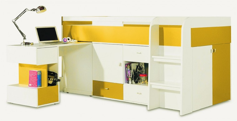 Zvýšená posteľ Mobi - Posteľ so stolom 205/105,5/115,5 (biela lesk/žltá)