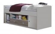 Zvýšená posteľ Sunny, 90 x 200, vr. ÚP (biela/dub)