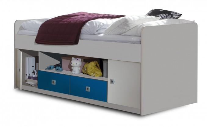 Zvýšená posteľ Sunny - Posteľ s úložným priestorom (alpská biela s modrou)