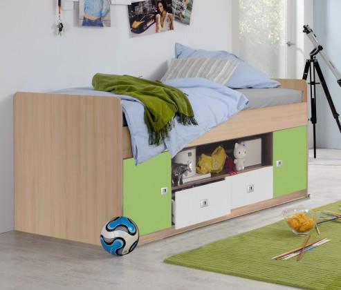 Zvýšená posteľ Sunny - Posteľ, úložný priestor (zelené jablko/alpská biela)
