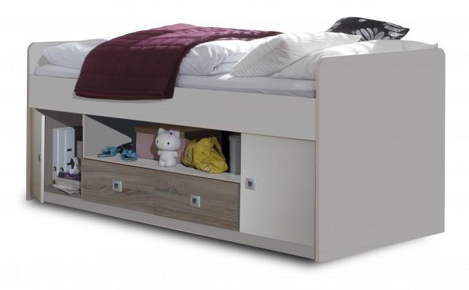 Zvýšená posteľ Sunny - Zvýšená posteľ s úložným priestorom (dub, alpská biela)