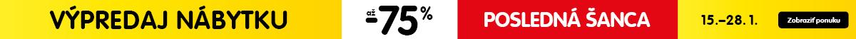 Posledná šanca využiť výpredaj nábytku so zľavou až 75%!